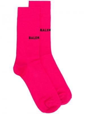 Logo printed socks Balenciaga. Цвет: розовый и фиолетовый