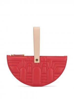 Полукруглый клатч с ремешком-браслетом Shanghai Tang. Цвет: красный