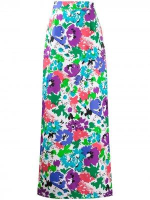 Юбка макси с цветочным принтом Plan C. Цвет: белый