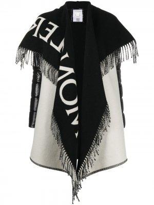 Жакет-пончо асимметричного кроя с бахромой Moncler. Цвет: черный