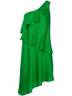 Платье на одно плечо Milly. Цвет: зеленый
