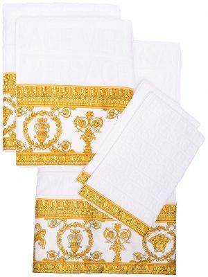 Набор из пяти полотенец с принтом Barocco Versace. Цвет: белый