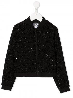 Куртка с пайетками и логотипом Karl Lagerfeld Kids. Цвет: черный