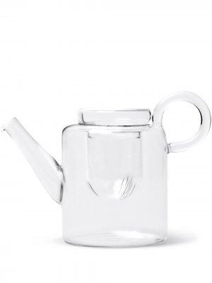 Большой стеклянный чайник Piuma Ichendorf Milano. Цвет: белый