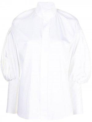 Рубашка с высоким воротником и объемными рукавами Dice Kayek. Цвет: белый