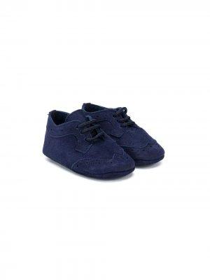 Кеды на шнуровке с перфорацией Le Bebé Enfant. Цвет: синий