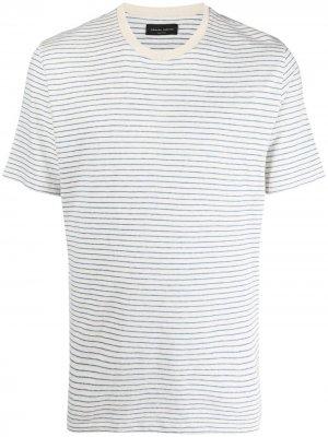Полосатая футболка с короткими рукавами Roberto Collina. Цвет: белый