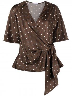 Блузка в горох P.A.R.O.S.H.. Цвет: коричневый