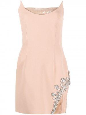 Декорированное платье мини без рукавов David Koma. Цвет: нейтральные цвета