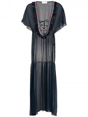 Пляжное платье с кисточками Brigitte. Цвет: синий