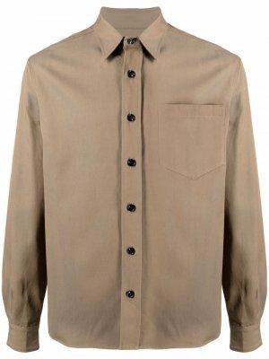 Рубашка с длинными рукавами и нагрудным карманом Haikure. Цвет: зеленый