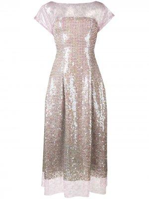 Кружевное платье-миди Talbot Runhof. Цвет: фиолетовый