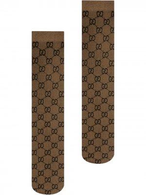 Длинные носки с узором GG Gucci. Цвет: коричневый