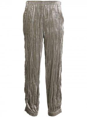 Зауженные брюки со складками Emporio Armani. Цвет: серый