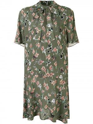 Платье с цветочным принтом Markus Lupfer. Цвет: зеленый