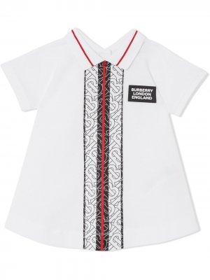 Платье с монограммой Burberry Kids. Цвет: белый