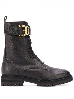 Ботинки в стиле милитари с пряжками Pollini. Цвет: черный