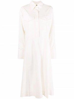 Расклешенное платье-рубашка длины миди Victoria Beckham. Цвет: нейтральные цвета