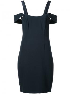 Платье со спущенными плечами Halston Heritage. Цвет: синий