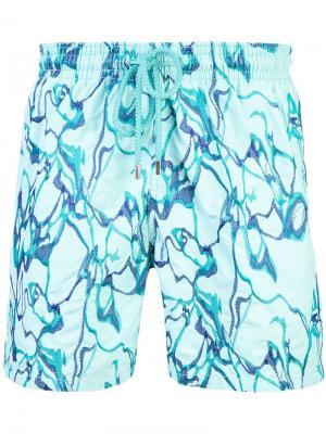 Пляжные шорты с вышивкой Vilebrequin. Цвет: синий