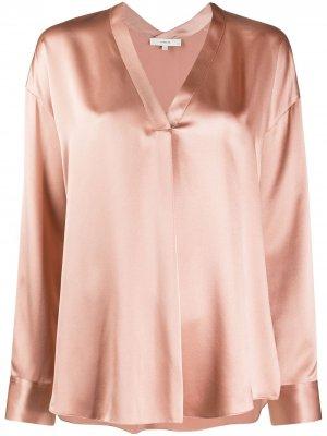 Блузка с V-образным вырезом Vince. Цвет: розовый