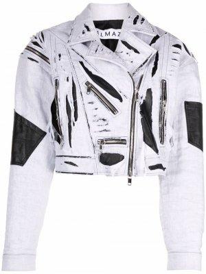 Байкерская куртка с прорезями Almaz. Цвет: белый