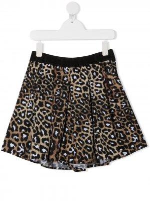 Шорты с леопардовым принтом Msgm Kids. Цвет: коричневый