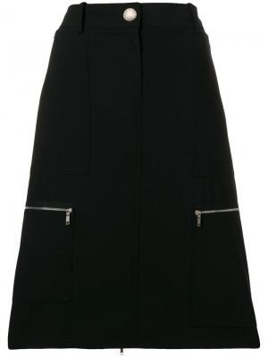 Юбка миди с молниями Céline Vintage. Цвет: черный