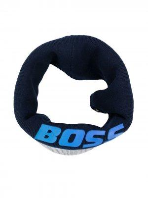 Logo print round scarf BOSS Kidswear. Цвет: синий
