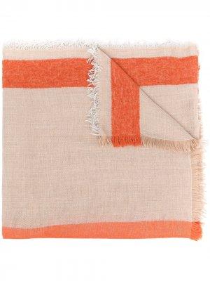 Шарф тонкой вязки с контрастными полосками Altea. Цвет: оранжевый