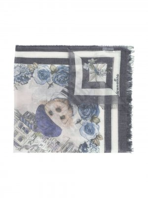 Платок с принтом и бахромой Monnalisa. Цвет: синий