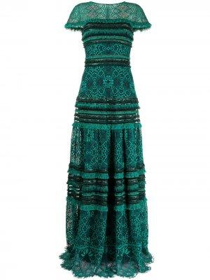 Платье Ece с бахромой Tadashi Shoji. Цвет: зеленый