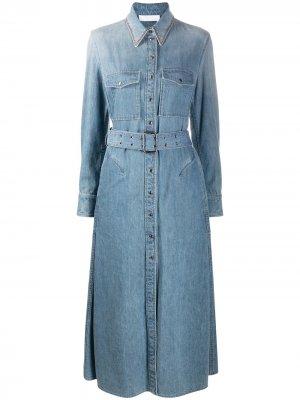 Расклешенное джинсовое платье-рубашка Chloé. Цвет: синий