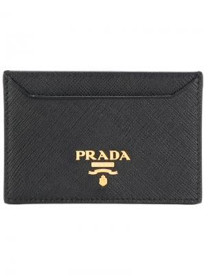 Зернистая кредитница с печатью логотипа Prada. Цвет: чёрный