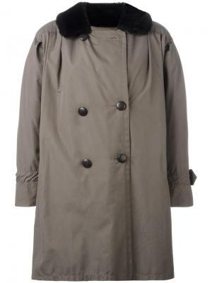 Бушлат с меховой оторочкой Yves Saint Laurent Vintage. Цвет: зеленый
