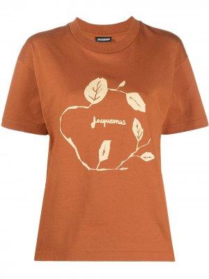 Футболка с логотипом Jacquemus. Цвет: коричневый