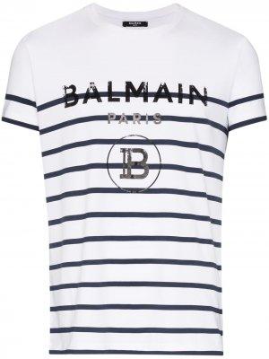 Полосатая футболка с логотипом Balmain. Цвет: белый