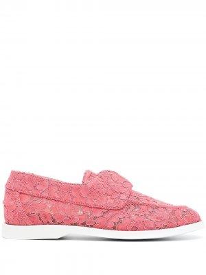 Кружевные лоферы Claire Le Silla. Цвет: розовый