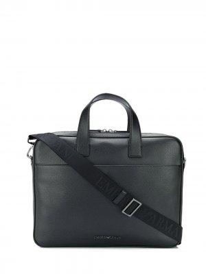 Однотонный портфель Emporio Armani. Цвет: черный