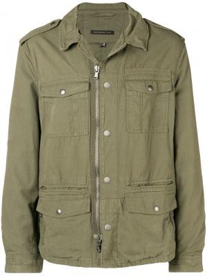 Embroidered dragon military jacket John Varvatos. Цвет: зеленый