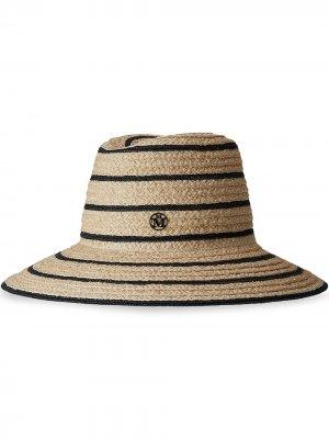 Соломенная шляпа Kate в полоску Maison Michel. Цвет: нейтральные цвета