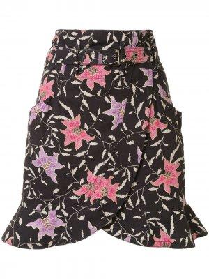 Юбка мини с поясом и цветочным принтом Isabel Marant. Цвет: черный