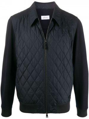 Стеганая куртка с контрастными рукавами Brioni. Цвет: синий