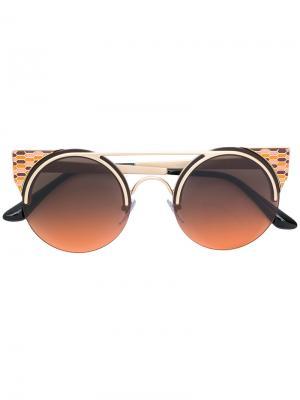 Солнцезащитные очки в оправе кошачий глаз Bulgari. Цвет: металлик