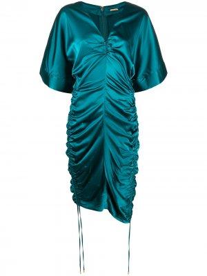 Коктейльное платье Fiona со сборками Cult Gaia. Цвет: синий