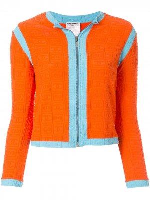Куртка Sports Line на молнии Chanel Pre-Owned. Цвет: оранжевый
