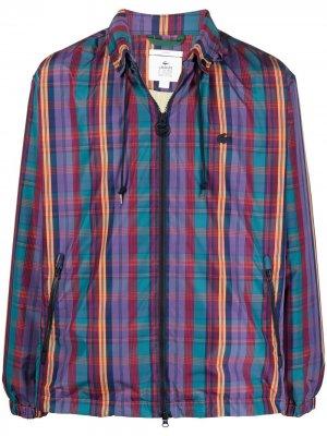 Легкая куртка в клетку Lacoste Live. Цвет: фиолетовый