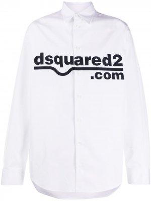 Рубашка с заостренным воротником и логотипом Dsquared2. Цвет: белый