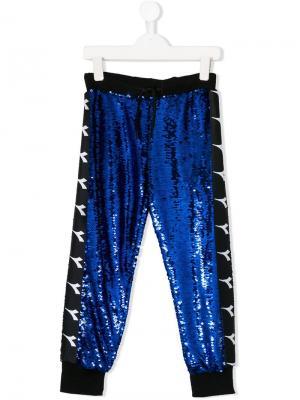 Спортивные брюки с пайетками и логотипами Diadora Junior. Цвет: синий
