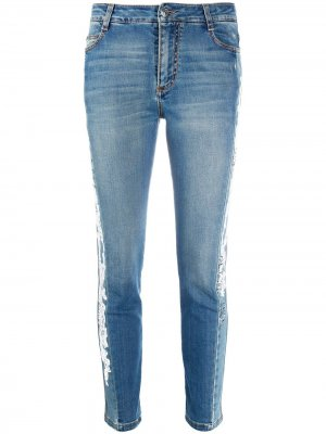 Укороченные джинсы скинни с кружевом Ermanno Scervino. Цвет: синий
